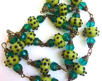 Green Wedding Cake Glass Necklace, Teal Rhinestones, Fiorato Vintage
