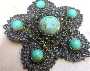 CZECH Turquoise Art Glass Filigree Brooch Art Deco Large Pewter or Pot Metal Vintage