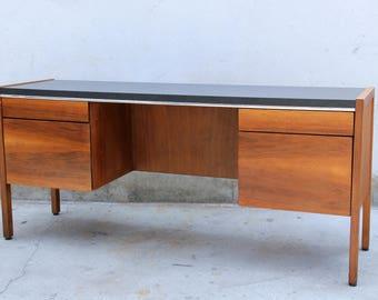 SOLD - Walnut Desk with Black Laminate Top Mid Century Modern Minimal