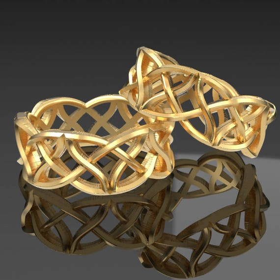 Celtic Wedding Ring Set Waves of Braided Kisses Dara Knotwork Design Made in 10K 14K 18K Gold or Palladium, Made in Your Size 1021