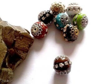8 Indian artisan polymer, rhinestones and metal, Brown and silver beads