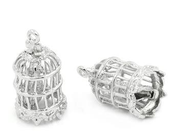 2 beautiful silver plated cages, 21x11mm