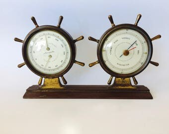 Nautical Weather Station Nautical Barometer Mid-Century Ship's Wheels Brass Glass NAUTICAL Vintage Airguide Instruments USA