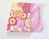 Medium Vintage Style Girl's Baby Blanket • Floral • Pink Baby Blanket • Minky Baby • Baby Girl • Blanket • Gift