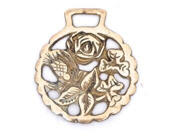 Vintage Horse Brass, Scottish Thistle, English Rose, Irish Shamrock, Unity Symbol, Horse Brass Buckle, Wall Hanging, Solid Brass Pub Decor