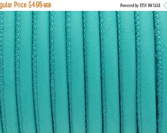 """30% OFF 5MM Round Stitched Nappa Genuine Leather - Turquoise - 1M/39.4"""""""