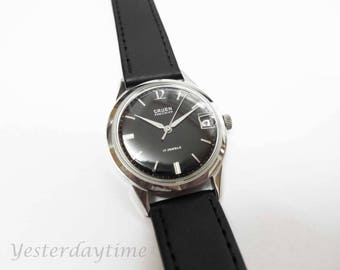 Gruen Precision 510CA Men's Black Dial With Date Window Watch 1960's Swiss Made 17 Jewel Manual Movement