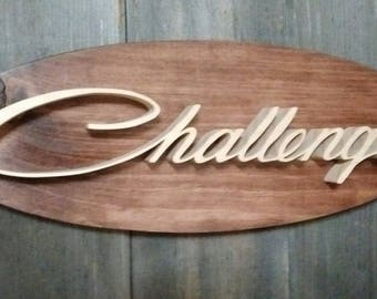 1970's Dodge Challenger Emblem Oval Wall Plaque-Unique scroll saw automotive art created from wood for your garage, shop or man cave.