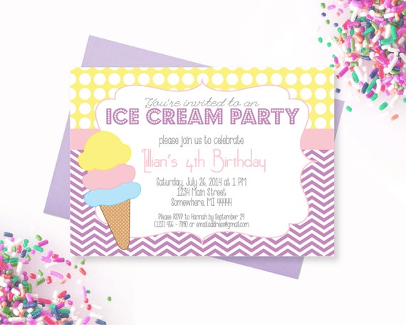 Ice Cream Party Invitation Ice Cream Parlor Party Yellow and – Ice Cream Party Invitation