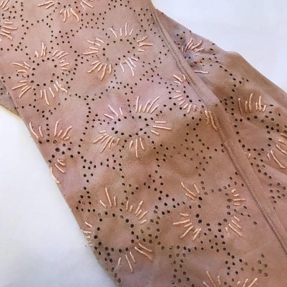 Vintage gloves pale pink suede 1930s original accessory size 6 6.5 evening wedding long full length WW2 punched floral 20s 30s gloves