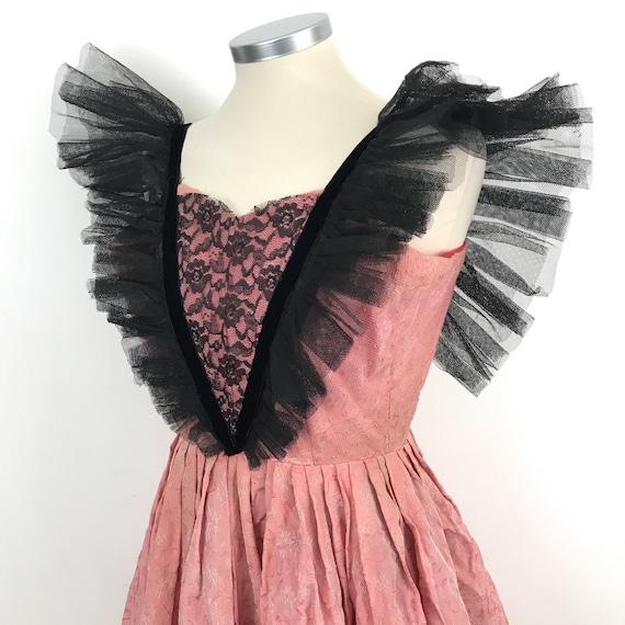 Vintage dress Fairytale vintage costume princess 1950s pink brocade black net trashed costume party 50s dress UK 4 6 petite circus burlesque