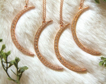 La Luna Necklace- Statement cz crescent moon necklace. Rose Gold Moon necklace. Rose Gold Crescent Moon. Gift for her.