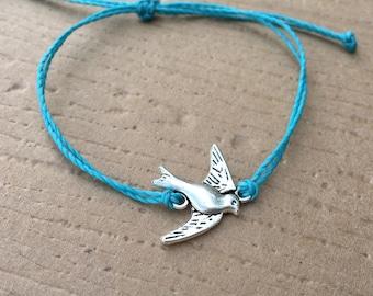Custom Silver Sparrow Friendship Bracelet - Waterproof - Best Friend Gift