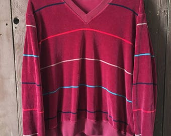 Vintage JcPenny Striped Velour top