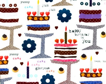 Birthday cakes - gift paper with silver print