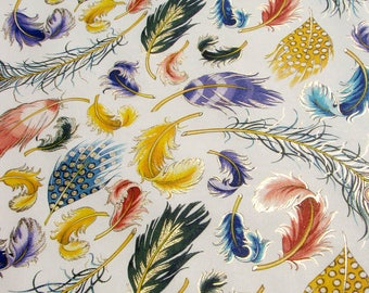 Feather - Florentine paper with gold print, Italy