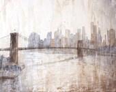 New York City skyline at dusk, Brooklyn Bridge watercolor painting New York,  Watercolor painting of Manhattan skyline, NYC wall art giclee