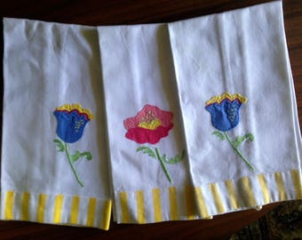 Three Perfect Appliqued Guest Towels