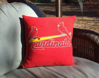 St. Louis Cardinals Baseball MLB Upcycled/recycled T-shirt 16x16 Pillow Cover