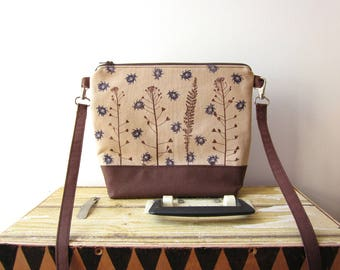 Small size naturalistic handbag, Crossbody bag, Clutch Purse, Hand printed bag, beetles stamp, plants stamp, Vegan crossbody bag, brown bag