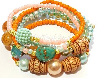 Orange,Green, Gold,Peach,Beaded Bracelets, OOAK, Stretchy, Boho, Women Gifts, Stack, Custom Handmade Beaded Bracelets