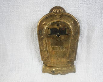 """Antique Vintage Paper or Letter Clip M.Myers and Son England """"Good Luck"""" Inside Horseshoe Tin Brass"""