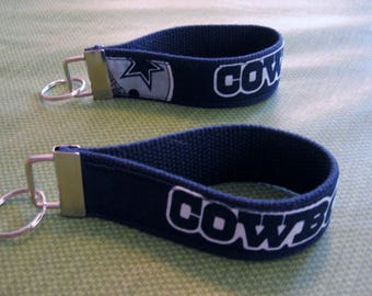 "NFL Sports Team Wristlets - Dallas Cowboys  Fabric Design Bold ""Cowboys"" 10 inch  FREE SHIPPING"