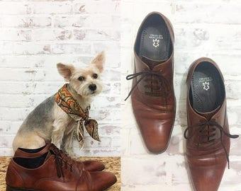 FLASH SALE Vintage COGNAC Brown Leather Kenneth Cole Oxford shoes || Size 12
