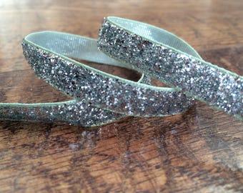 5 yards 3/8 silver glitter ribbon. Silver glitter ribbon, silver sparkle ribbon, glitter ribbon, craft, crafting, sewing, glitter hairbows