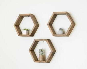 Hexagon Shelf Set, Honeycomb Shelves, Floating Shelves, Geometric Wall Decor, Nursery Wall Art, Wall Storage, Bedroom Wall Decor, Boho Decor