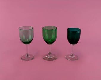 3 Green Glasses Port Sherry Wine Blown Stem Victorian Antique English 19th Century Set