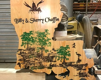 Swamp Scene on Cypress, Shape of Your Favorite State, Made to Order