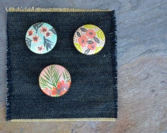 Hand-Painted Floral Wood Brooch Pin Trio Set