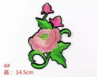 1 piece of pink rose sew on or iron on patch/ badge