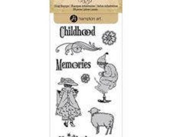 Childhood Memories Unmounted Red Rubber Cling Stamp Hampton Art 10 Piece Set FREE US SHIPPING