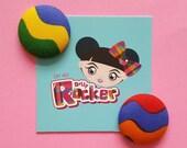 Rainbow Button Earrings,U...