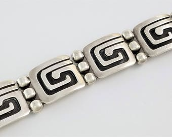 Vintage Emma Melendez Taxco Mexico Sterling Silver Bracelet Jose Luis Flores