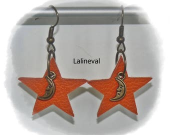 Orange leather star earrings