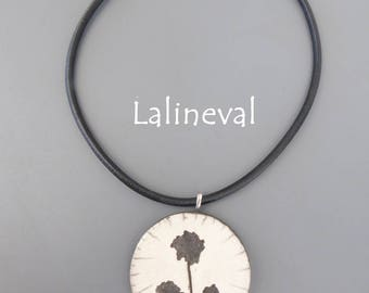 Crew neck, flowers #11 raku pendant Locket