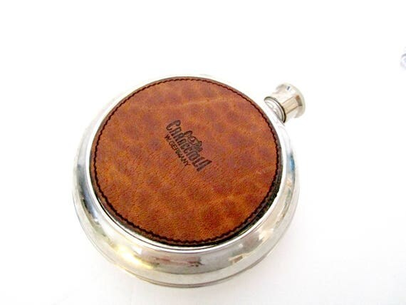 Mid Century Flask, Men's Flask, Caracciola Goldpheil Flask, Made in West Germany, Leather Round Hip Flask, Pocket Flask