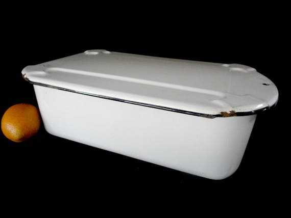 Large Enamelware Refrigerator Box with Lid, Embossed Lid, White with Black Trim, Metal Storage Box, Farmhouse Cottage Decor, 1940s