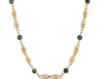 Jackie Kennedy Jade Necklace Set - 24K GP Bamboo Design with Box and Certificate