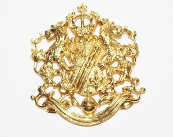 Joan Rivers Coat of Arms Brooch - Gold Tone - S2297