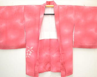 HAORI JACKET H27a - Lovely warm pink silk, decorated with cherry blossom