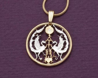 Japanese pendant etsy japanese pendant and necklace jewelryjapanese 50 sen coin hand cut 14 karat gold mozeypictures Images