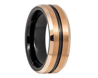 Tungsten Wedding Band,18K Rose Gold,Rose Gold Tungsten,Two Tone Tungsten Wedding Band,Mens Wedding Band,Engraving,High Polish,Mens Ring