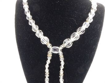 Art Deco Quartz Rock Crystal, Glass and Rhinestone Lavalier Necklace