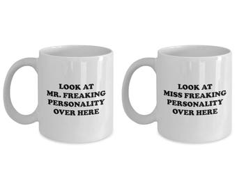 Mr Freaking Personality and Miss Couple Funny Mug Gift SET of TWO Sarcastic Coffee Cup