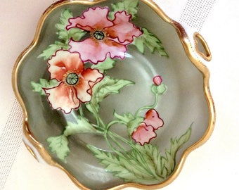 Vintage Hand Painted Mormura/Nippon/Noritake Floral Bowl/Moriage and Gold Trim/Hand Painted/Folded Edge/ Nippon Bowl/Morimura Bowl/