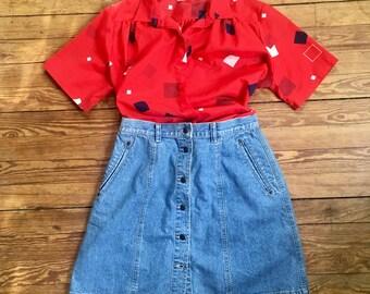 vintage, button front, short denim skirt, liz claiborne